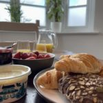 Enjoy breakfast, looking out toward the town and meadows